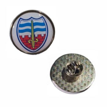 Premium Badge 25mm round silv clutch and printed dome